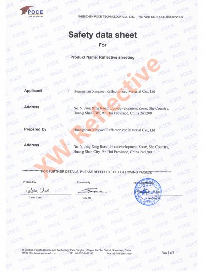 XW MSDS Report for reflective film