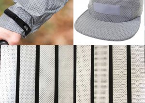 perforated reflective fabric for clothing and hat