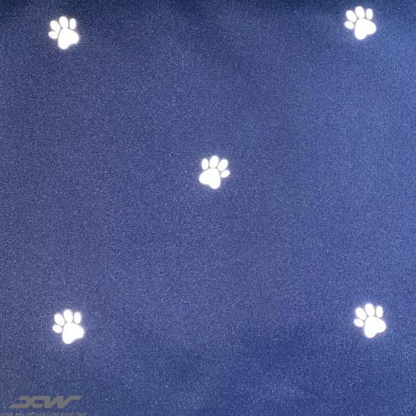 navy reflective fabric paw design